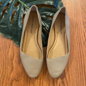 Lucky Brand Tan Leather Asymmetrical Flats Size 6